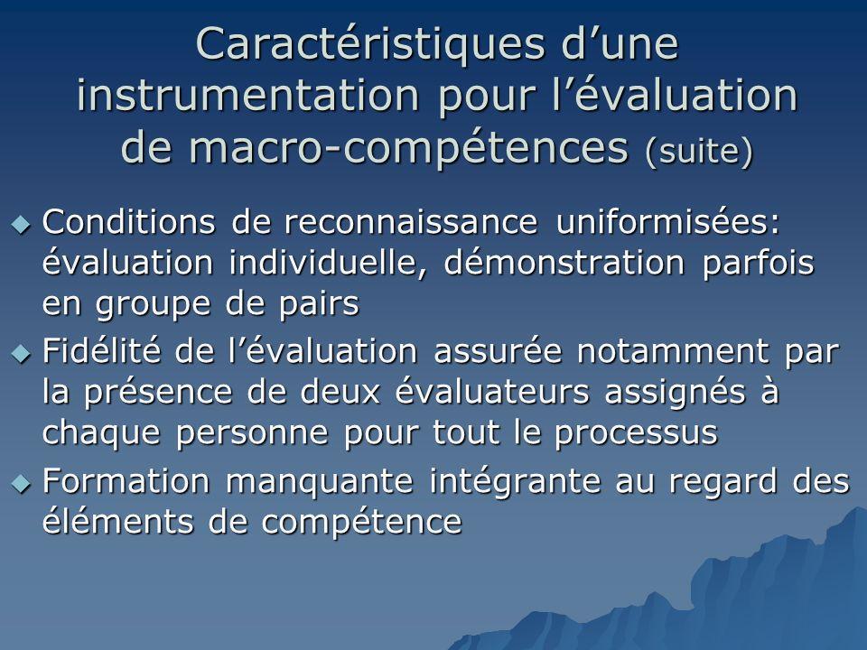 Caractéristiques dune instrumentation pour lévaluation de macro-compétences (suite) Conditions de reconnaissance uniformisées: évaluation individuelle