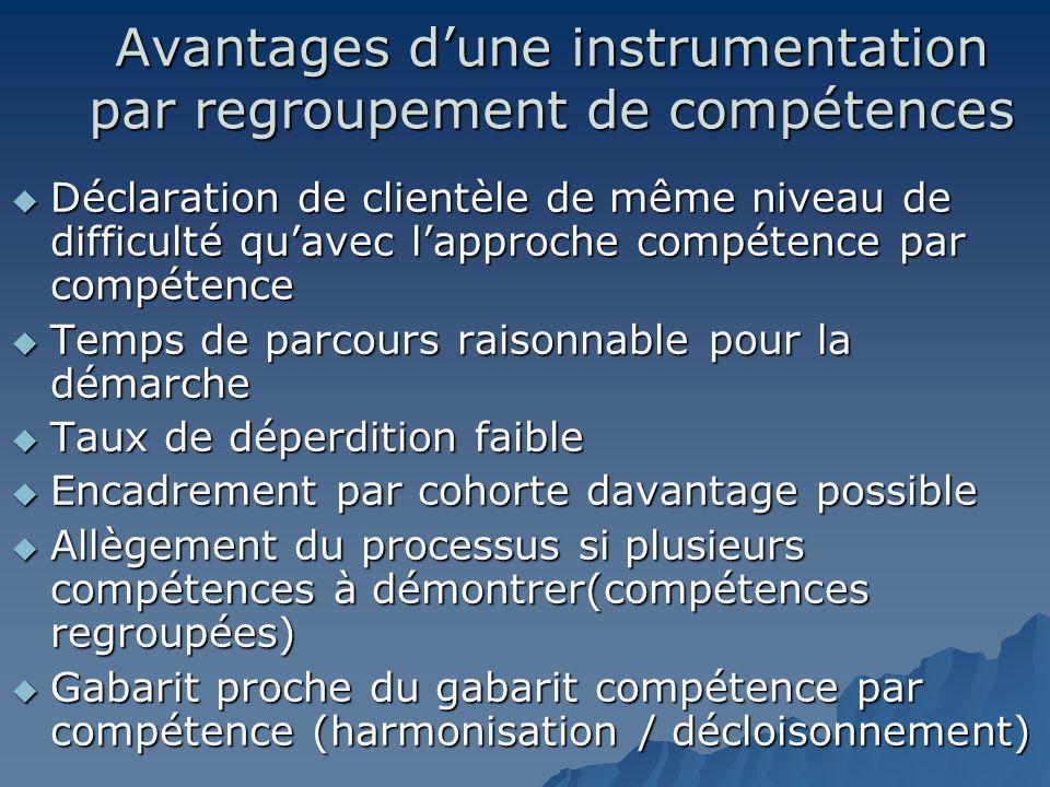 Avantages dune instrumentation par regroupement de compétences Déclaration de clientèle de même niveau de difficulté quavec lapproche compétence par c