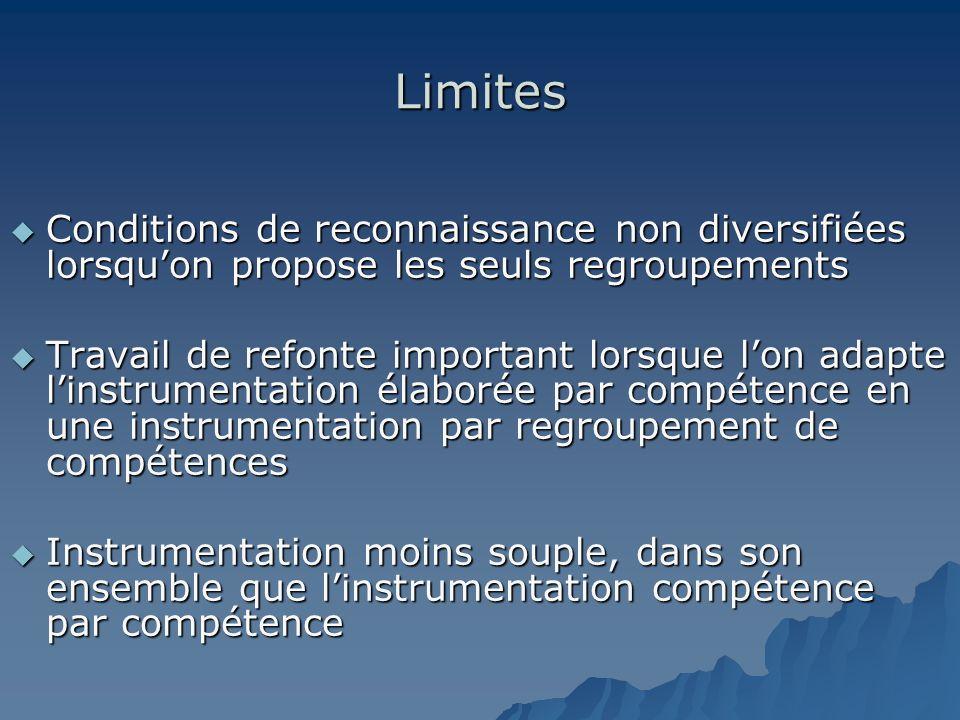 Limites Conditions de reconnaissance non diversifiées lorsquon propose les seuls regroupements Conditions de reconnaissance non diversifiées lorsquon