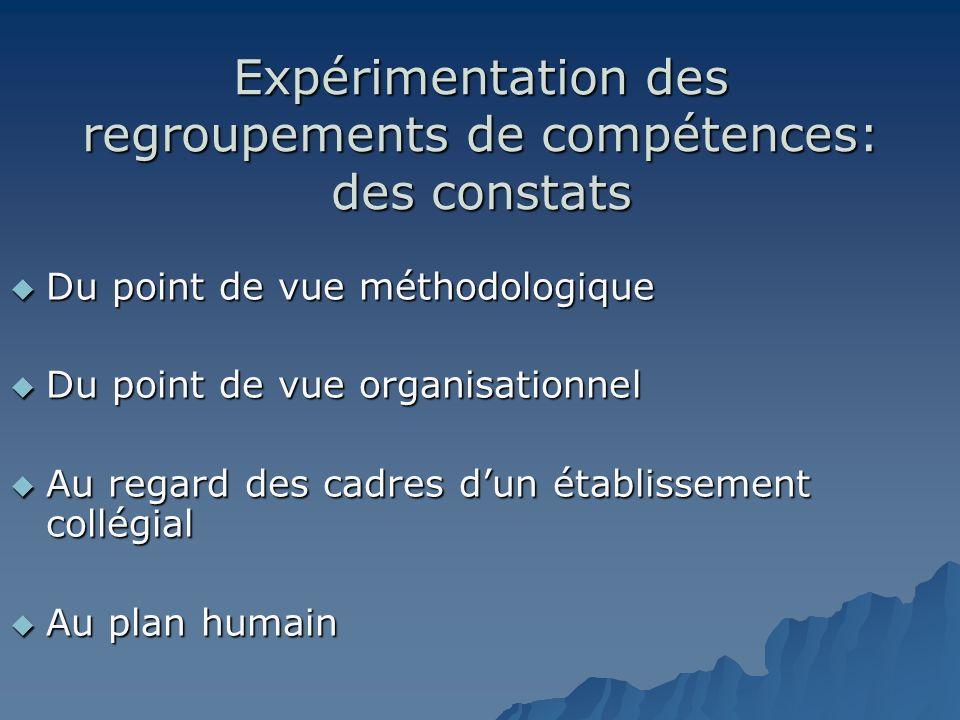 Expérimentation des regroupements de compétences: des constats Du point de vue méthodologique Du point de vue méthodologique Du point de vue organisat