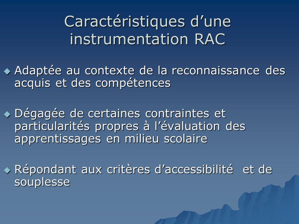 Caractéristiques dune instrumentation RAC Adaptée au contexte de la reconnaissance des acquis et des compétences Adaptée au contexte de la reconnaissa