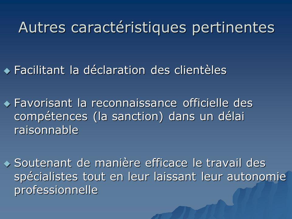 Autres caractéristiques pertinentes Facilitant la déclaration des clientèles Facilitant la déclaration des clientèles Favorisant la reconnaissance off