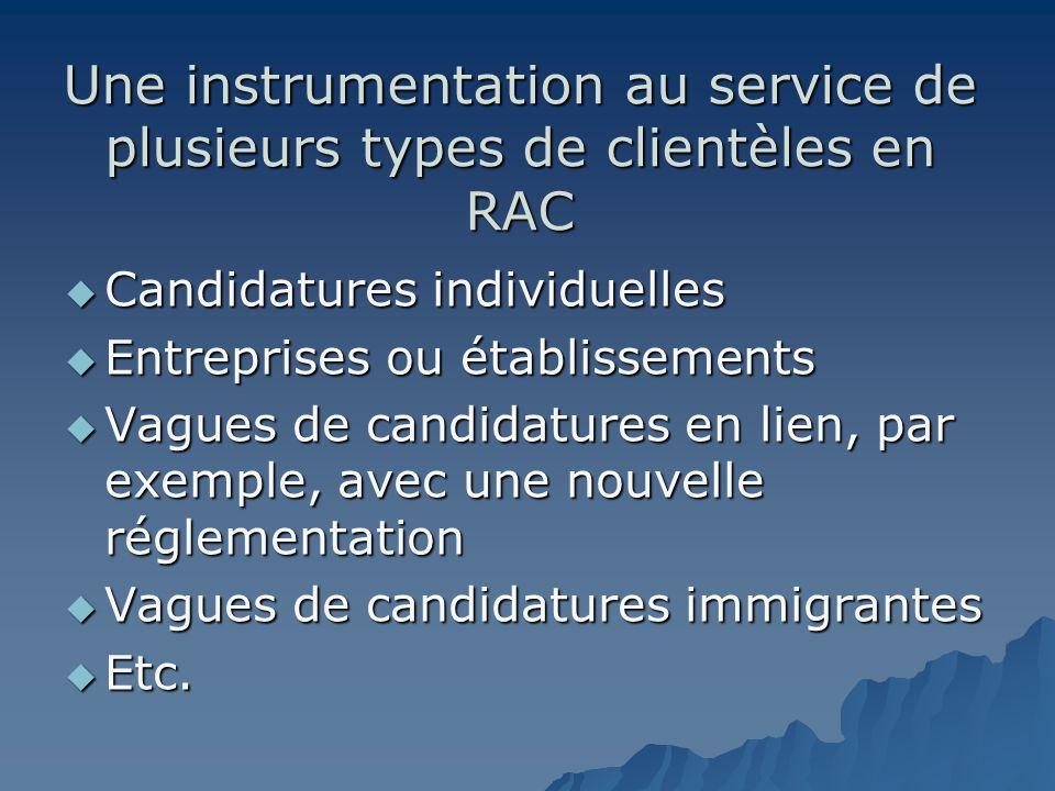 Une instrumentation au service de plusieurs types de clientèles en RAC Candidatures individuelles Candidatures individuelles Entreprises ou établissem