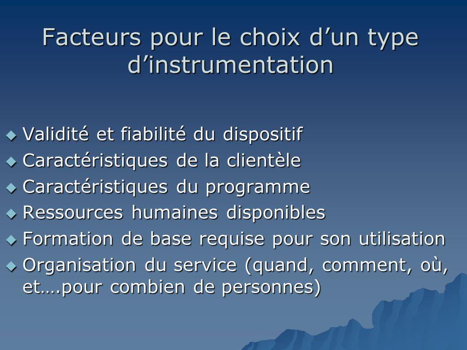 Facteurs pour le choix dun type dinstrumentation Validité et fiabilité du dispositif Validité et fiabilité du dispositif Caractéristiques de la client