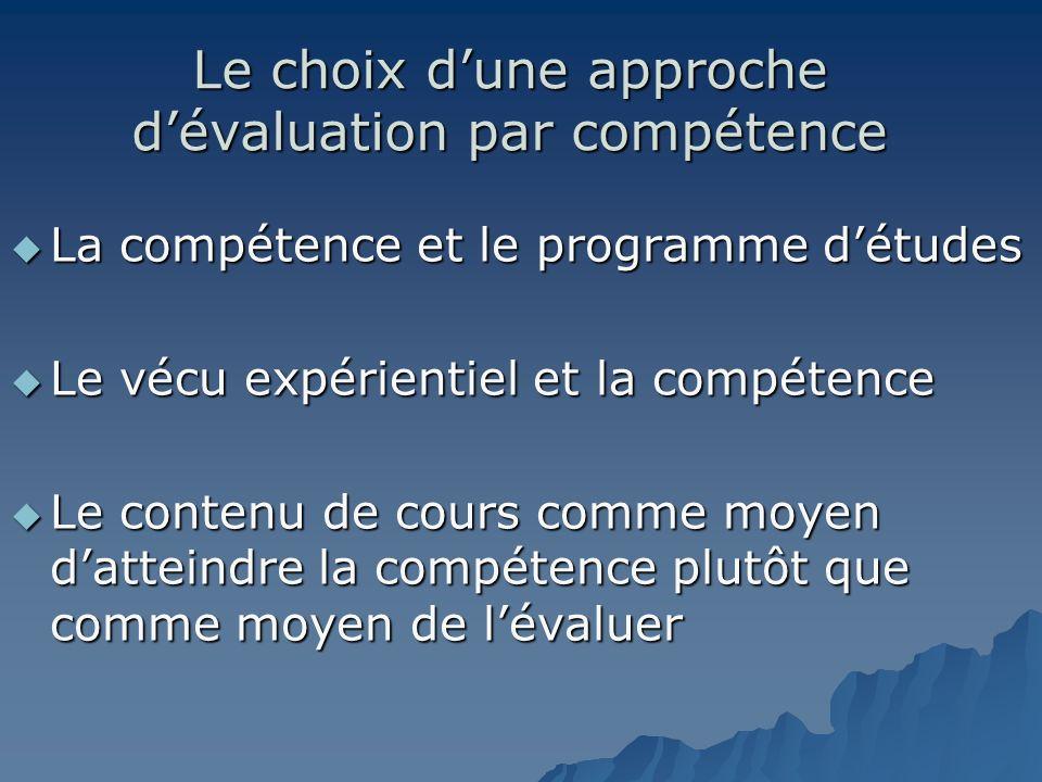 Le choix dune approche dévaluation par compétence La compétence et le programme détudes La compétence et le programme détudes Le vécu expérientiel et
