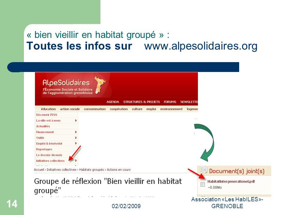 02/02/2009 Association «Les HabILES»- GRENOBLE 14 « bien vieillir en habitat groupé » : Toutes les infos sur www.alpesolidaires.org