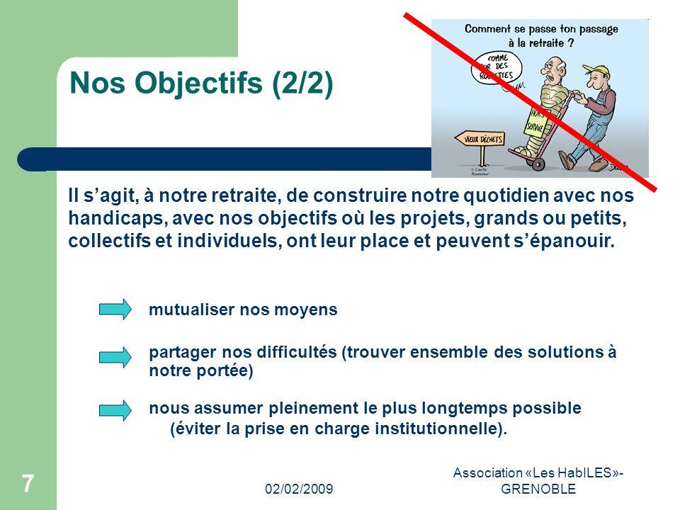 02/02/2009 Association «Les HabILES»- GRENOBLE 7 Nos Objectifs (2/2) nous assumer pleinement le plus longtemps possible (éviter la prise en charge institutionnelle).