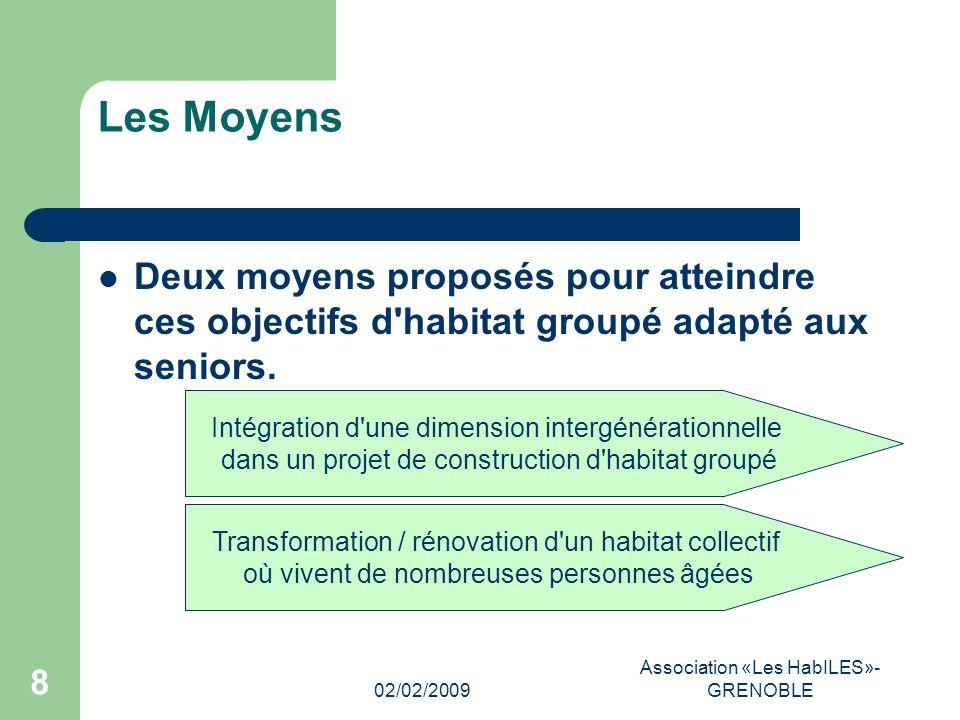 02/02/2009 Association «Les HabILES»- GRENOBLE 8 Les Moyens Deux moyens proposés pour atteindre ces objectifs d habitat groupé adapté aux seniors.