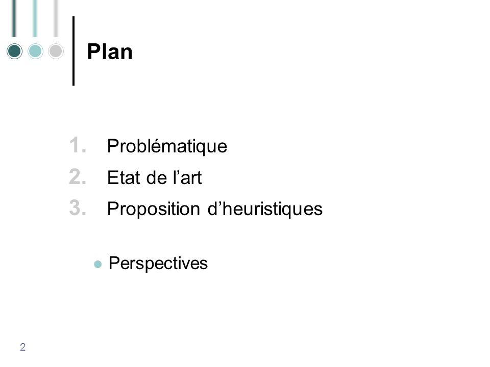 Plan 1. Problématique 2. Etat de lart 3. Proposition dheuristiques Perspectives 2