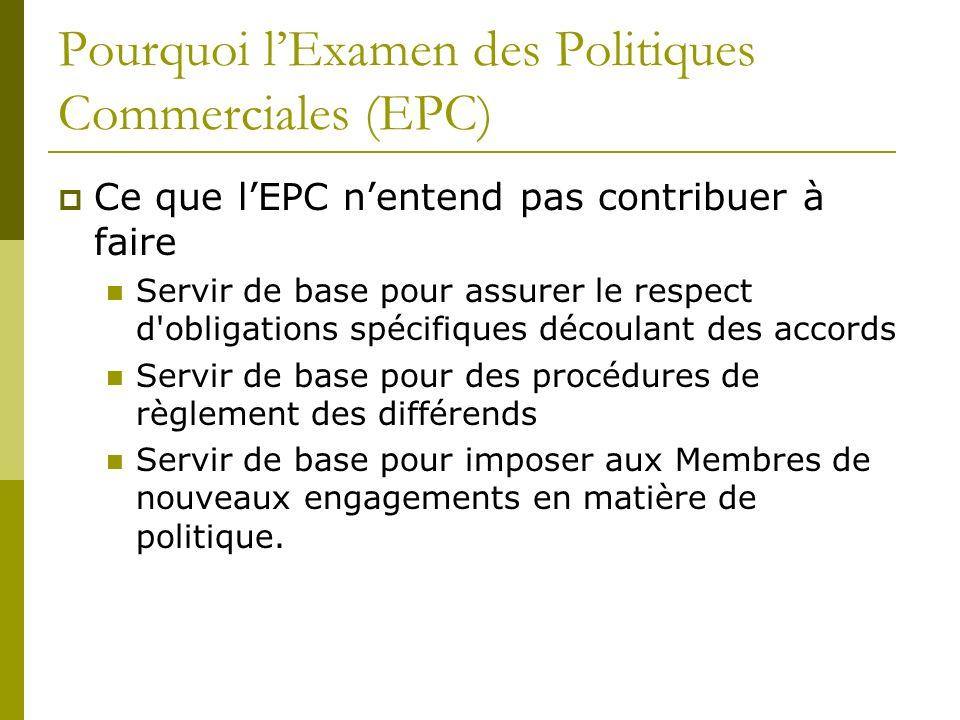 Pourquoi lExamen des Politiques Commerciales (EPC) Ce que lEPC nentend pas contribuer à faire Servir de base pour assurer le respect d'obligations spé