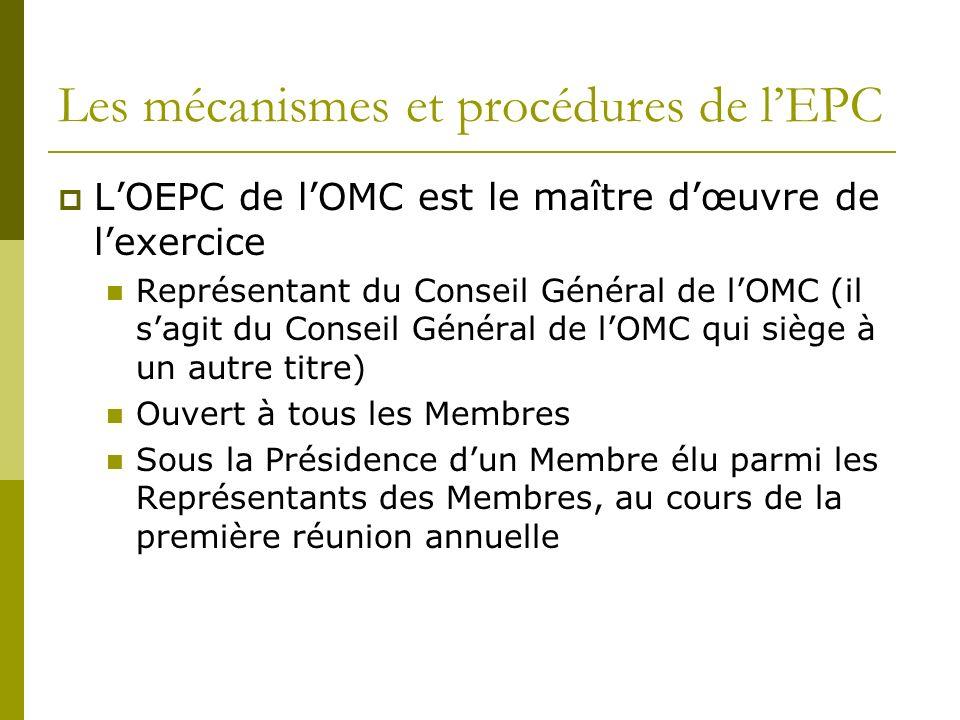 Les mécanismes et procédures de lEPC LOEPC de lOMC est le maître dœuvre de lexercice Représentant du Conseil Général de lOMC (il sagit du Conseil Géné