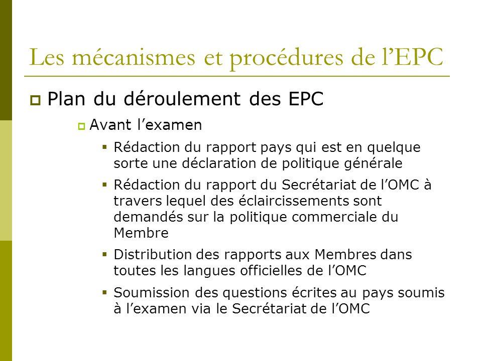 Les mécanismes et procédures de lEPC Plan du déroulement des EPC Avant lexamen Rédaction du rapport pays qui est en quelque sorte une déclaration de p