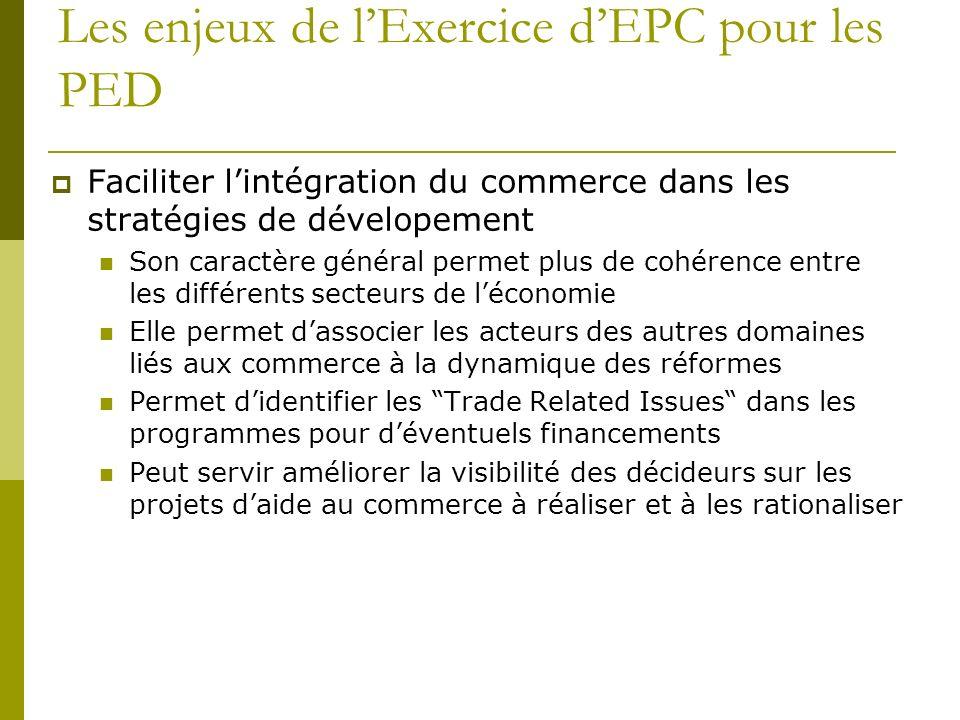 Les enjeux de lExercice dEPC pour les PED Faciliter lintégration du commerce dans les stratégies de dévelopement Son caractère général permet plus de
