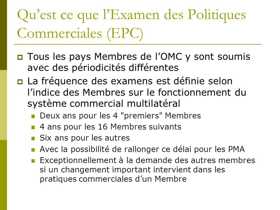 Quest ce que lExamen des Politiques Commerciales (EPC) Tous les pays Membres de lOMC y sont soumis avec des périodicités différentes La fréquence des