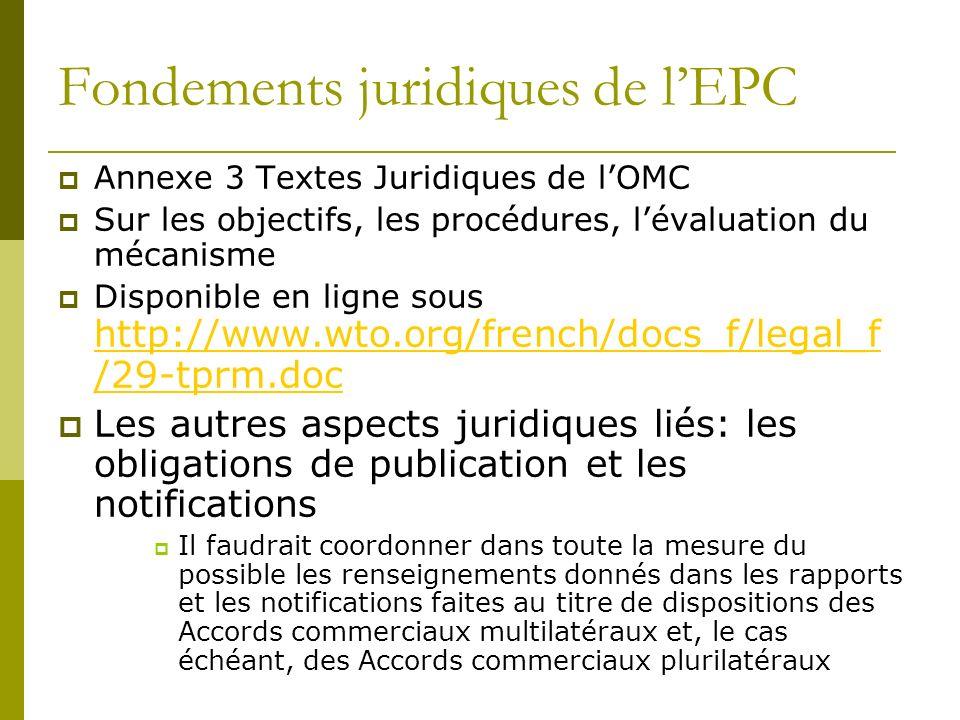 Fondements juridiques de lEPC Annexe 3 Textes Juridiques de lOMC Sur les objectifs, les procédures, lévaluation du mécanisme Disponible en ligne sous