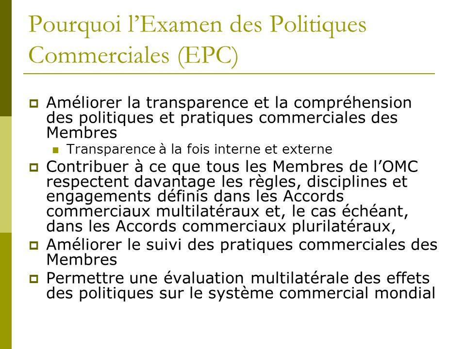 Pourquoi lExamen des Politiques Commerciales (EPC) Améliorer la transparence et la compréhension des politiques et pratiques commerciales des Membres
