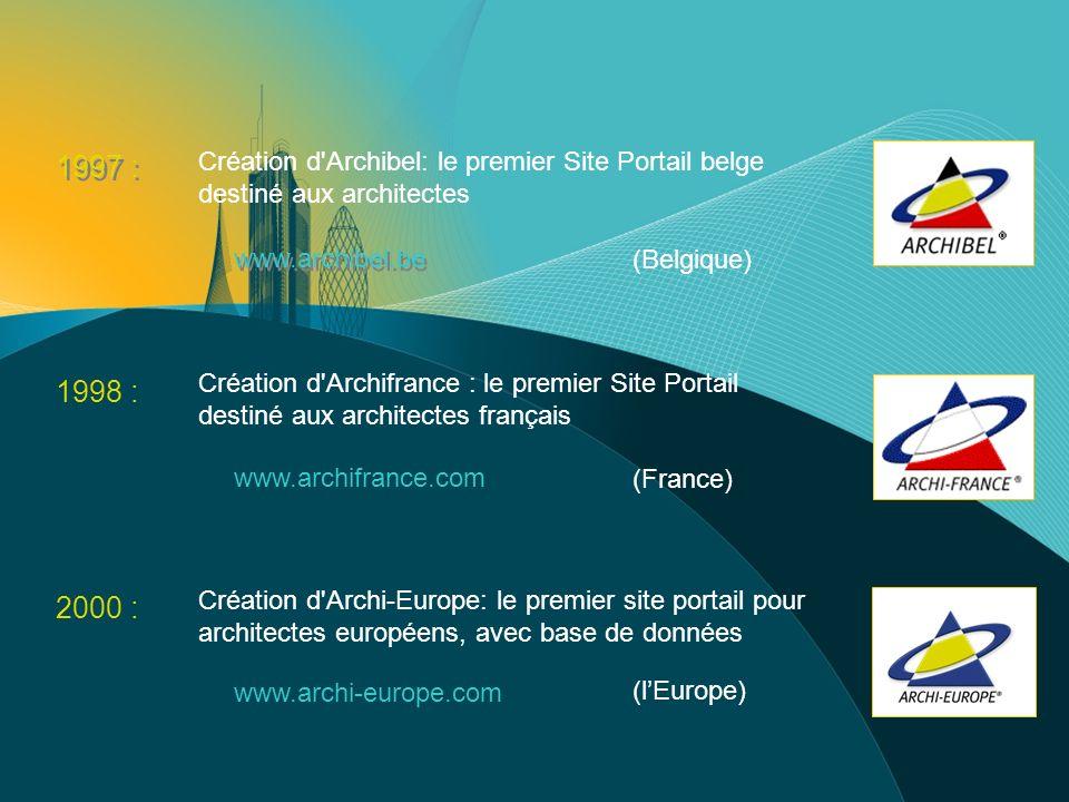 Archi-Europe en 2005 Archi-Europe est devenu le plus grand réseau darchitectes en Europe avec plus de 150.000 architectes inscrits dans 23 pays.