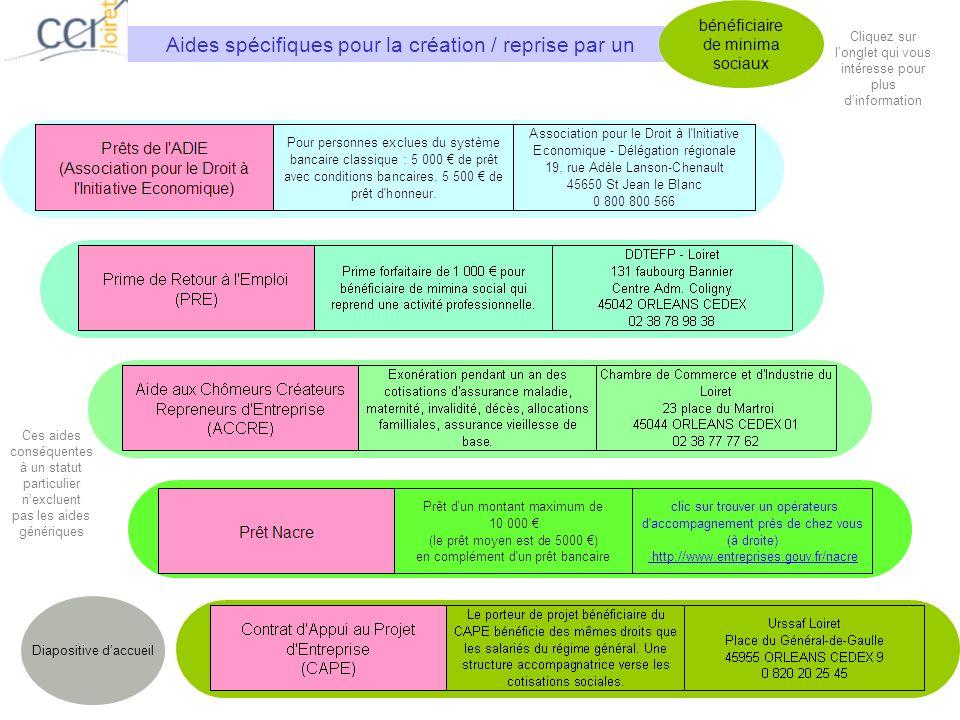 Aides spécifiques pour la création / reprise par un bénéficiaire de minima sociaux Diapositive daccueil Cliquez sur longlet qui vous intéresse pour pl