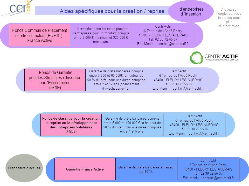 Aides spécifiques pour la création / reprise dentreprises d insertion Diapositive daccueil Cliquez sur longlet qui vous intéresse pour plus dinformation