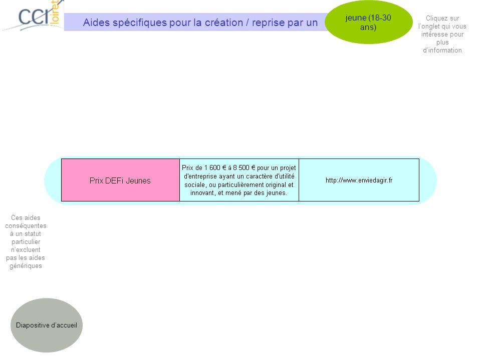 Aides spécifiques pour la création / reprise par un jeune (18-30 ans) Diapositive daccueil Cliquez sur longlet qui vous intéresse pour plus dinformation Ces aides conséquentes à un statut particulier nexcluent pas les aides génériques