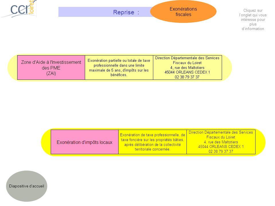 Diapositive daccueil Reprise : Exonérations fiscales Cliquez sur longlet qui vous intéresse pour plus dinformation