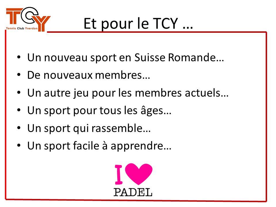 Et pour le TCY … Un nouveau sport en Suisse Romande… De nouveaux membres… Un autre jeu pour les membres actuels… Un sport pour tous les âges… Un sport