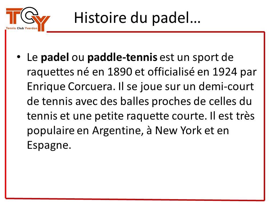 Histoire du padel… Le padel ou paddle-tennis est un sport de raquettes né en 1890 et officialisé en 1924 par Enrique Corcuera. Il se joue sur un demi-