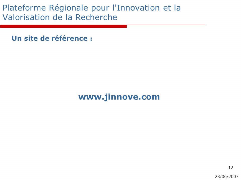 28/06/2007 12 Plateforme Régionale pour l Innovation et la Valorisation de la Recherche Un site de référence : www.jinnove.com