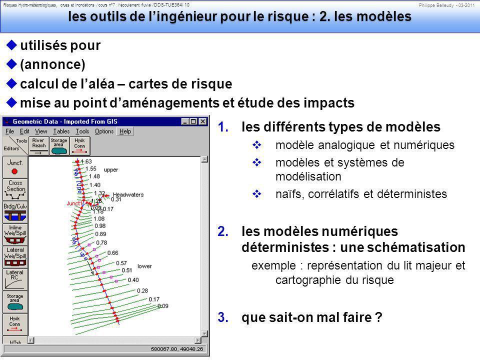 Philippe Belleudy - 03-2011 Risques Hydro-météorologiques, crues et inondations / cours n°7 : lécoulement fluvial /DDS-TUE364/ 10 les outils de lingénieur pour le risque : 2.