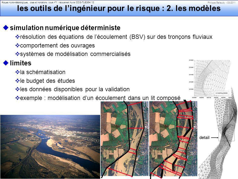 Philippe Belleudy - 03-2011 Risques Hydro-météorologiques, crues et inondations / cours n°7 : lécoulement fluvial /DDS-TUE364/ 13 les outils de lingénieur pour le risque : 2.
