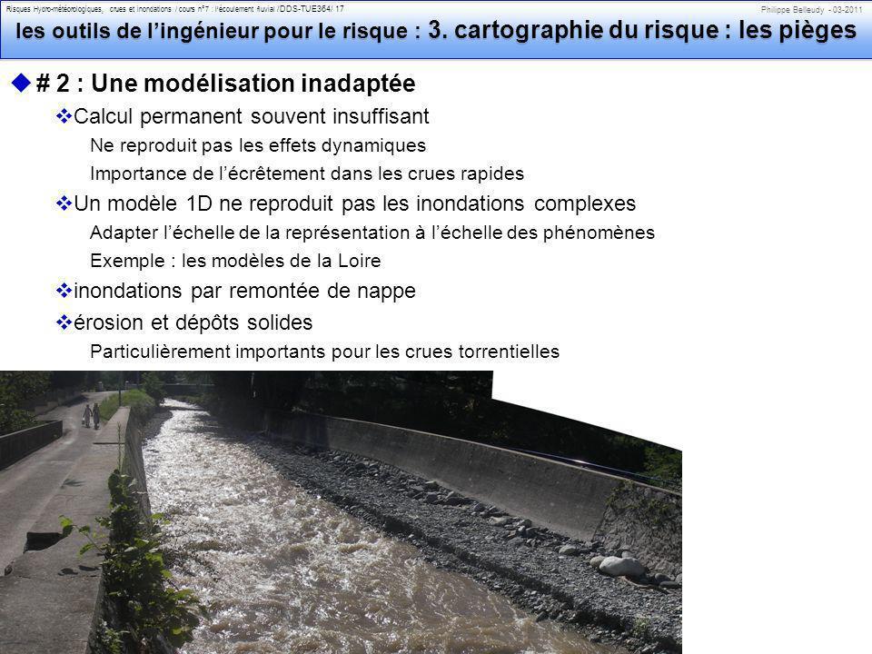 Philippe Belleudy - 03-2011 Risques Hydro-météorologiques, crues et inondations / cours n°7 : lécoulement fluvial /DDS-TUE364/ 17 les outils de lingénieur pour le risque : 3.