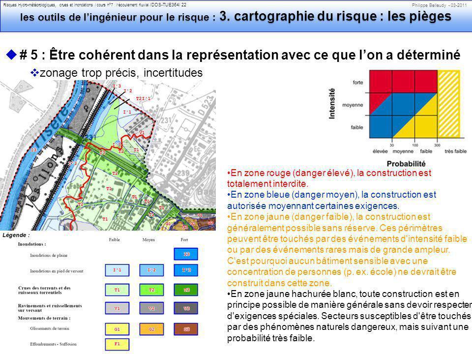 Philippe Belleudy - 03-2011 Risques Hydro-météorologiques, crues et inondations / cours n°7 : lécoulement fluvial /DDS-TUE364/ 22 les outils de lingénieur pour le risque : 3.