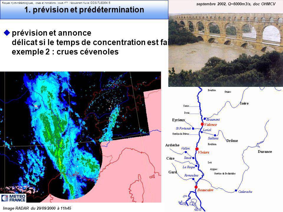 Philippe Belleudy - 03-2011 Risques Hydro-météorologiques, crues et inondations / cours n°7 : lécoulement fluvial /DDS-TUE364/ 6 les outils de lingénieur pour le risque : 1.