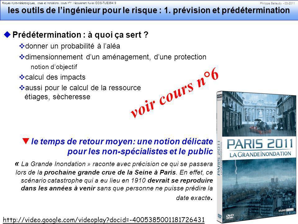 Philippe Belleudy - 03-2011 Risques Hydro-météorologiques, crues et inondations / cours n°7 : lécoulement fluvial /DDS-TUE364/ 9 les outils de lingéni