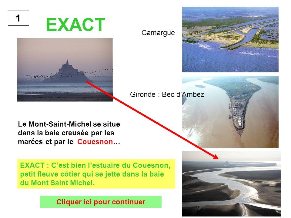 Le Mont-Saint-Michel se situe dans la baie creusée par les marées et par le Couesnon… 1 EXACT : Cest bien lestuaire du Couesnon, petit fleuve côtier q