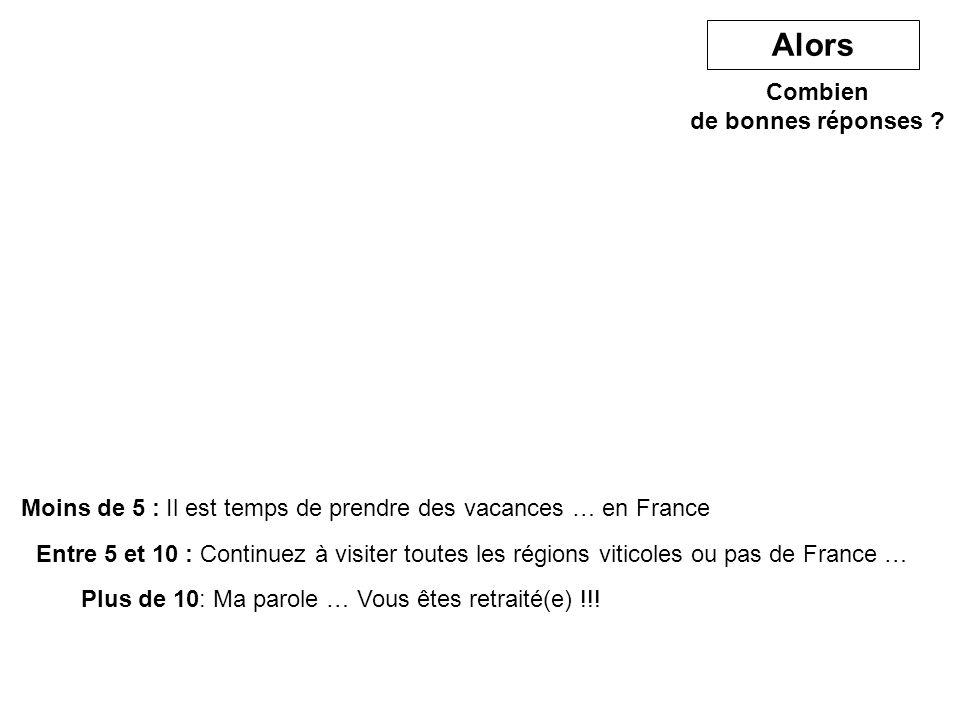 Combien de bonnes réponses ? Moins de 5 : Il est temps de prendre des vacances … en France Alors Entre 5 et 10 : Continuez à visiter toutes les région