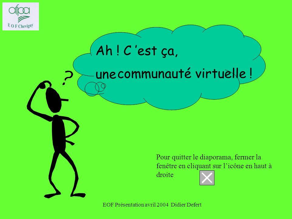 EOF Présentation avril 2004 Didier Defert Ah .C est ça, une communauté virtuelle .
