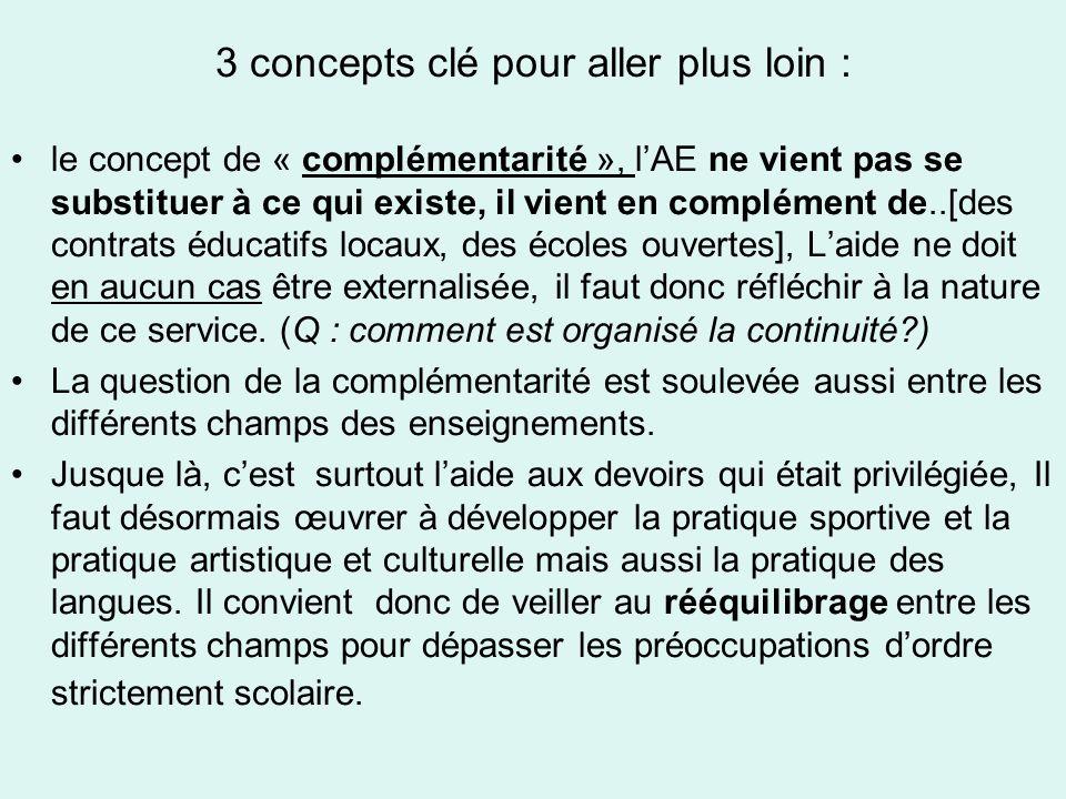 3 concepts clé pour aller plus loin : le concept de « complémentarité », lAE ne vient pas se substituer à ce qui existe, il vient en complément de..[des contrats éducatifs locaux, des écoles ouvertes], Laide ne doit en aucun cas être externalisée, il faut donc réfléchir à la nature de ce service.