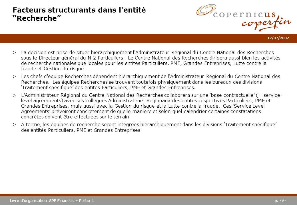 p. #Livre d'organisation SPF Finances – Partie 1 17/07/2002 Facteurs structurants dans l'entité Recherche >La décision est prise de situer hiérarchiqu