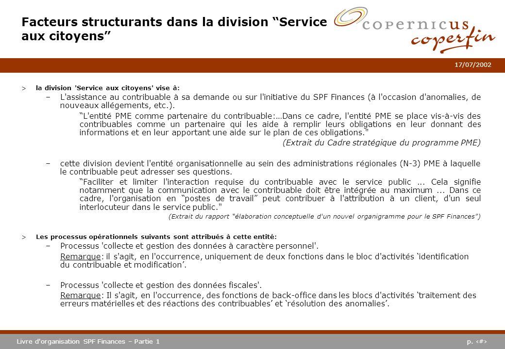 p. #Livre d'organisation SPF Finances – Partie 1 17/07/2002 >la division 'Service aux citoyens' vise à: –L'assistance au contribuable à sa demande ou