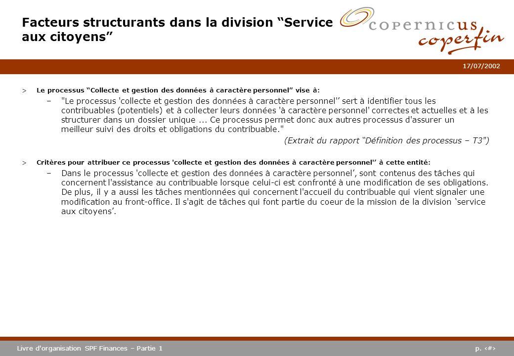 p. #Livre d'organisation SPF Finances – Partie 1 17/07/2002 >Le processus Collecte et gestion des données à caractère personnel vise à: –