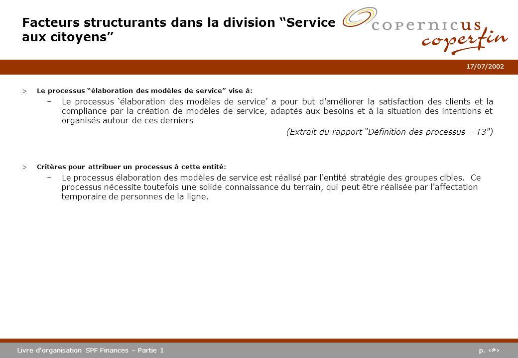 p. #Livre d'organisation SPF Finances – Partie 1 17/07/2002 >Le processus élaboration des modèles de service vise à: –Le processus élaboration des mod