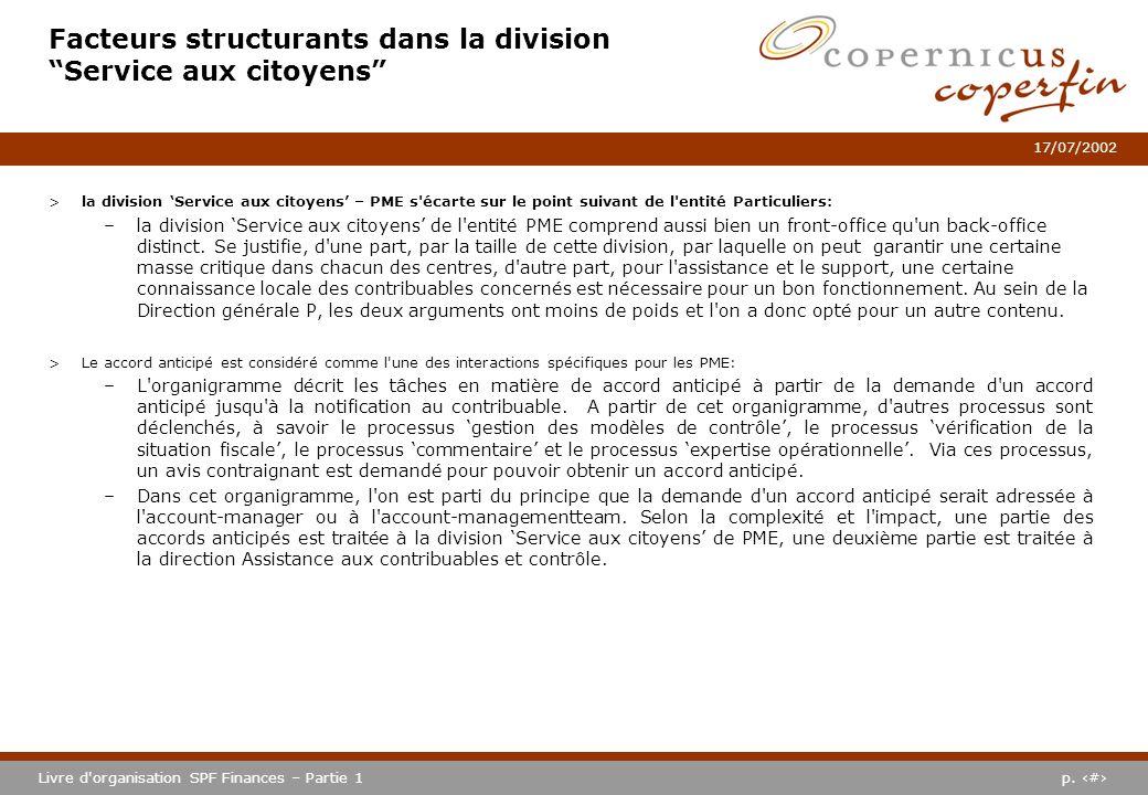 p. #Livre d'organisation SPF Finances – Partie 1 17/07/2002 Facteurs structurants dans la division Service aux citoyens >la division Service aux citoy