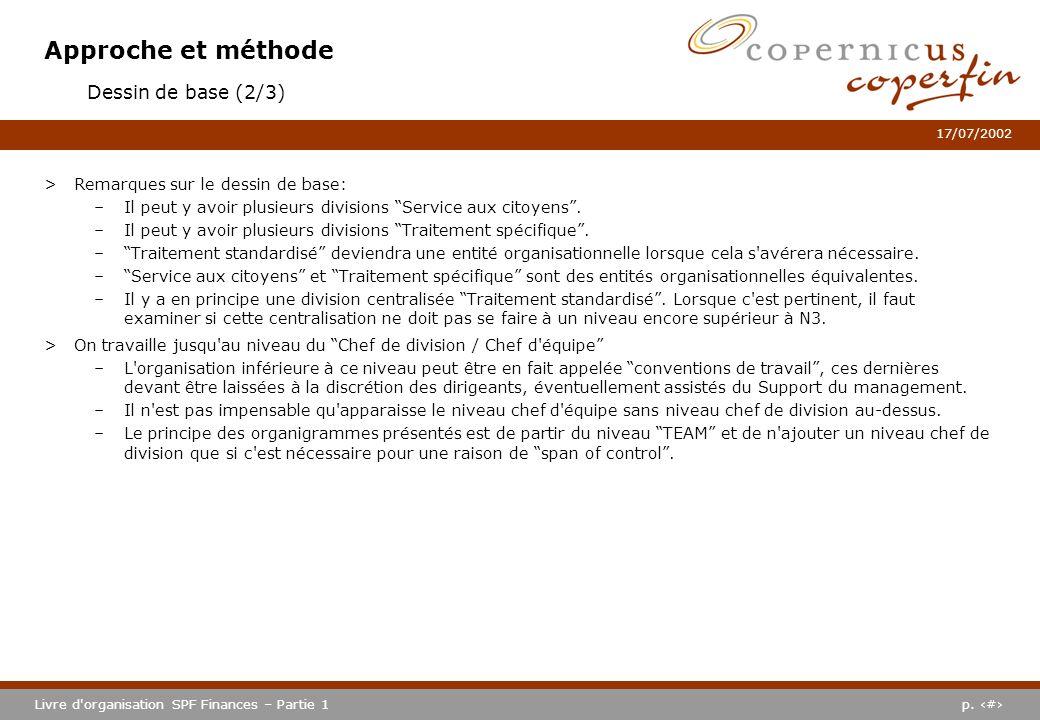 p. #Livre d'organisation SPF Finances – Partie 1 17/07/2002 Approche et méthode >Remarques sur le dessin de base: –Il peut y avoir plusieurs divisions
