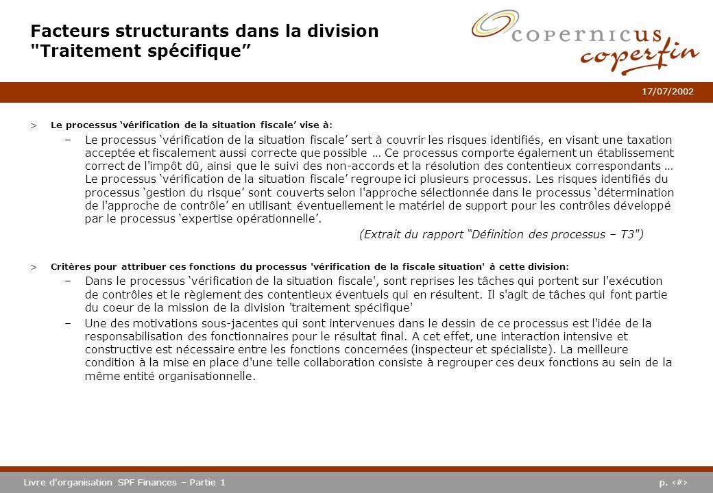 p. #Livre d'organisation SPF Finances – Partie 1 17/07/2002 >Le processus vérification de la situation fiscale vise à: –Le processus vérification de l