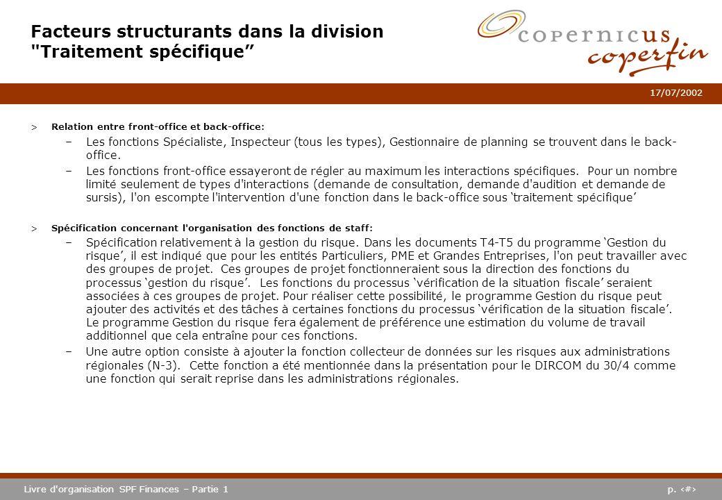 p. #Livre d'organisation SPF Finances – Partie 1 17/07/2002 >Relation entre front-office et back-office: –Les fonctions Spécialiste, Inspecteur (tous