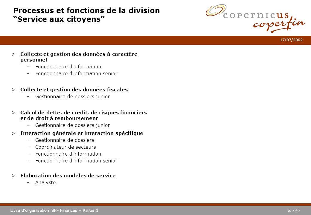 p. #Livre d'organisation SPF Finances – Partie 1 17/07/2002 Processus et fonctions de la division Service aux citoyens >Collecte et gestion des donnée