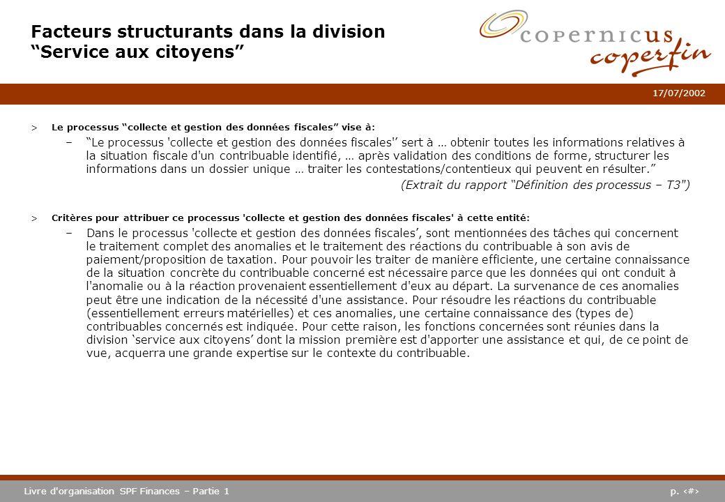 p. #Livre d'organisation SPF Finances – Partie 1 17/07/2002 >Le processus collecte et gestion des données fiscales vise à: –Le processus 'collecte et