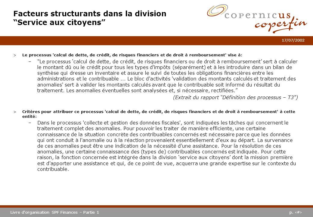 p. #Livre d'organisation SPF Finances – Partie 1 17/07/2002 >Le processus 'calcul de dette, de crédit, de risques financiers et de droit à rembourseme