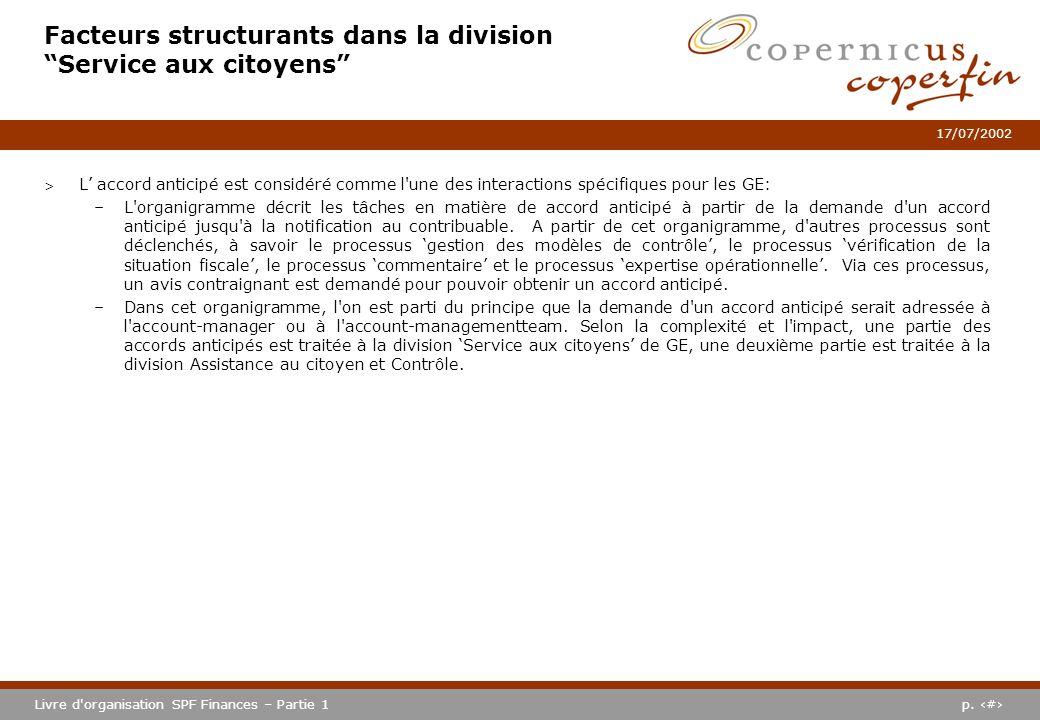 p. #Livre d'organisation SPF Finances – Partie 1 17/07/2002 Facteurs structurants dans la division Service aux citoyens > L accord anticipé est consid